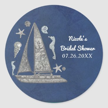 Beach Themed Nautical Silver Boat & Beach Things Elegant Party Classic Round Sticker
