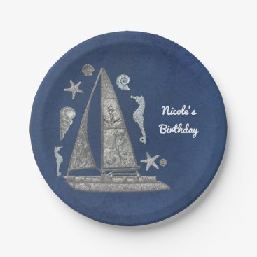 Beach Themed Nautical Silver Boat & Beach Things Elegant Party Paper Plate