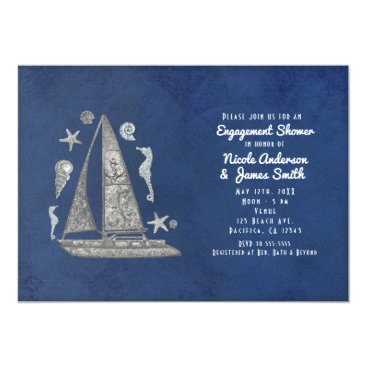 Beach Themed Nautical Silver Boat & Beach Things Invitations