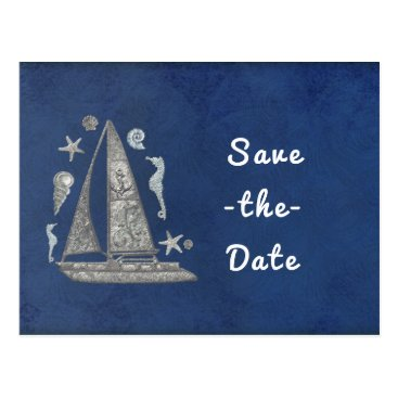 Beach Themed Nautical Silver Boat & Beach Things Save the Date Postcard