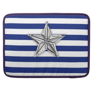 Nautical Silver Star Design on Stripes Sleeve For MacBooks