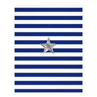 Nautical Silver Star on Blue Stripes Letterhead