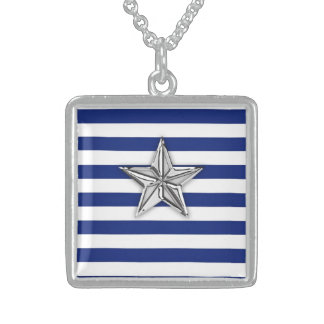 Nautical Silver Star on Blue Stripes Sterling Silver Necklace