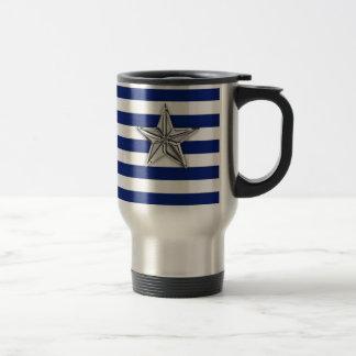 Nautical Silver Star on Blue Stripes Travel Mug