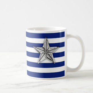 Nautical Silver Star on Navy Blue Stripes Coffee Mug