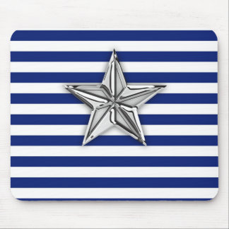 Nautical Silver Star on Navy Blue Stripes Mouse Pad