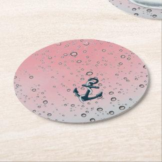 Nautical Sinking Anchor Round Paper Coaster