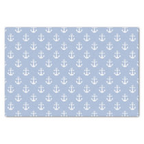 Nautical Sky Blue and White Anchor Pattern Tissue Paper