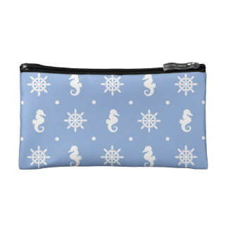 Nautical sky blue pattern cosmetic bag