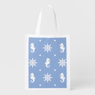 Nautical sky blue pattern reusable grocery bag