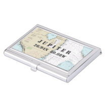 Nautical South Florida Latitude Longitude Chart Case For Business Cards