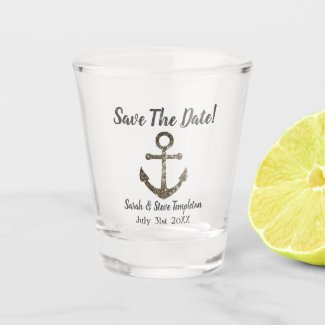 Nautical Sparkle Wedding Save The Date Shot Glass