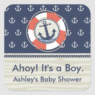 Nautical Square Baby Shower Sticker
