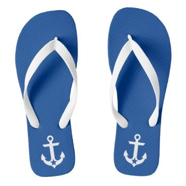 Beach Themed Nautical Star Anchor Blue and White Flip Flops