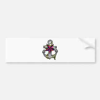 Nautical Star and Anchor Bumper Sticker