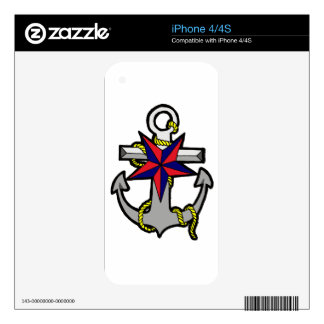 Nautical Star and Anchor Decal For The iPhone 4