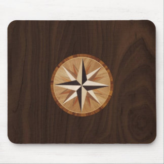Nautical Star Dark Wood Marquetry Look Mouse Pad