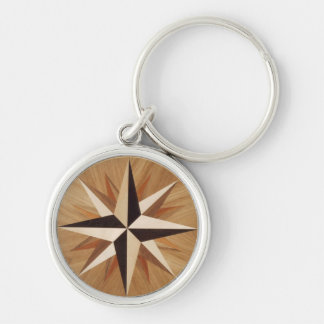 Nautical Star Dark Wood Marquetry Look Silver-Colored Round Keychain
