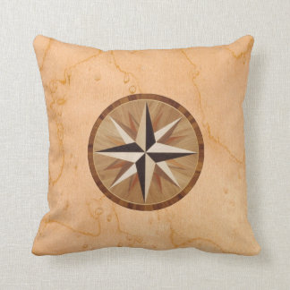 Nautical Star Light Wood Marquetry look Throw Pillow