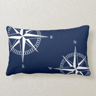 Nautical Star Print on Navy Blue Lumbar Pillow