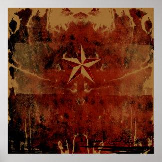 Nautical Star Red Print