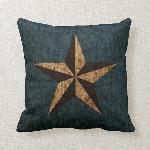 Deep Blue Throw Pillows : Nautical Star Rustic Deep Sea Blue Throw Pillows Zazzle