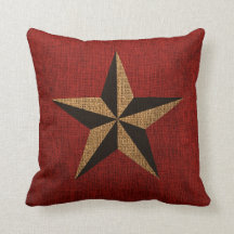 Nautical Star Rustic Red Throw Pillow