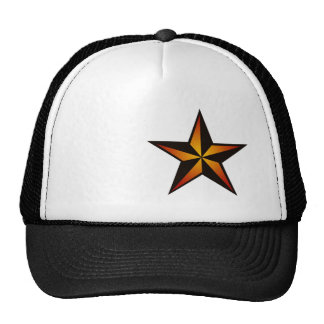 Nautical Star Trucker Hat - Orange & Black Star
