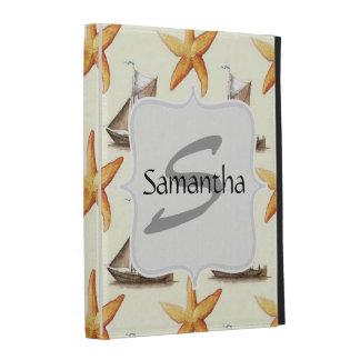 Nautical Starfish and Sailboat Pattern iPad Folio Case