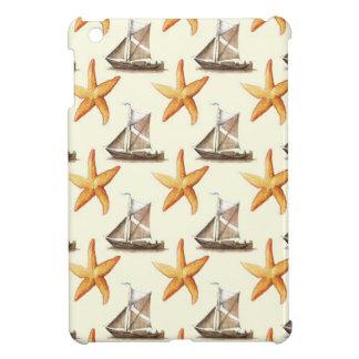 Nautical Starfish and Sailboat Pattern iPad Mini Covers