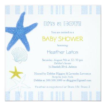 Beach Themed Nautical Starfish Baby Boy Baby Shower Card