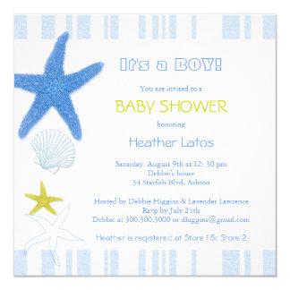 "Nautical Starfish Baby Boy Baby Shower Invitations 5.25"" Square Invitation Card"