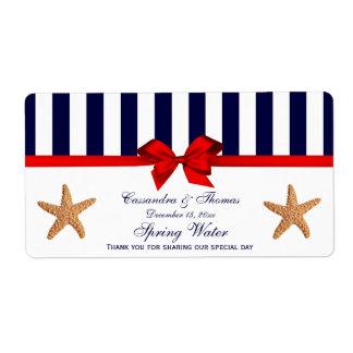 Nautical Starfish Blue White Stripe H Water Label
