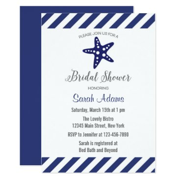 Beach Themed Nautical Starfish Chevron Bridal Shower Invitation