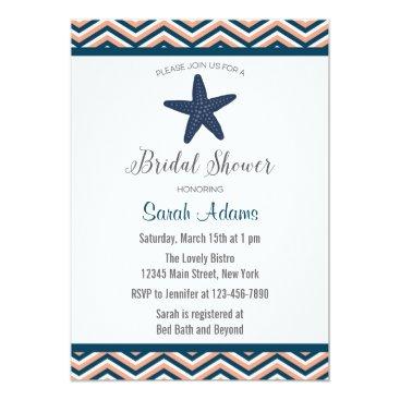 Beach Themed Nautical Starfish Chevron Bridal Shower Invitation