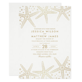Nautical Starfish Elegant Fun Beach Themed Wedding Card
