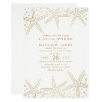Nautical Starfish Elegant Fun Beach Themed Wedding Invitation