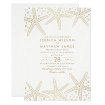 Nautical Starfish Elegant Fun Beach Themed Wedding Invitation