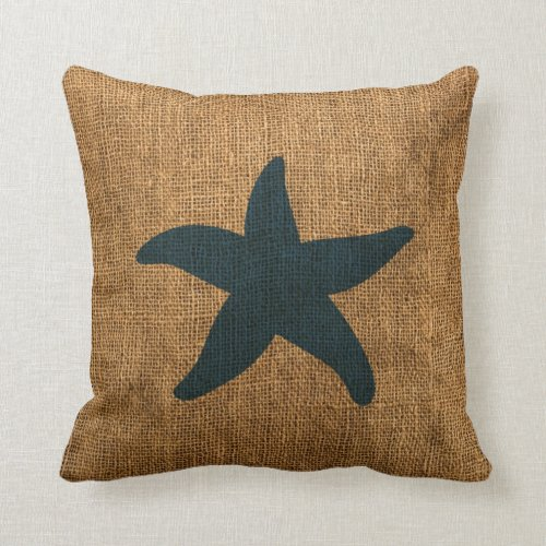 Nautical Starfish in Deep Sea Blue and reversed Throw Pillow