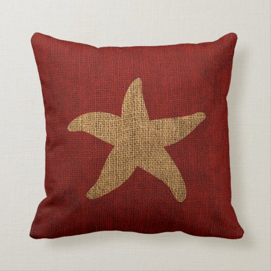 Colorful Rustic Throw Pillows : Nautical Starfish in Rustic Red and reverse Throw Pillow Zazzle
