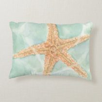 Nautical Starfish in Water Decorative Pillow