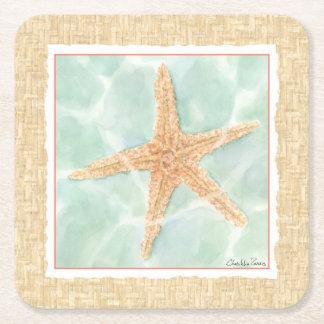 Nautical Starfish in Water Square Paper Coaster