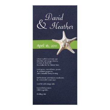 Beach Themed Nautical Starfish Navy and  Kelly Green Menu