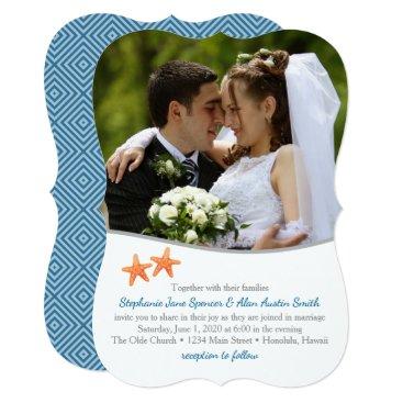 Beach Themed Nautical Starfish Photo Wedding Invitation