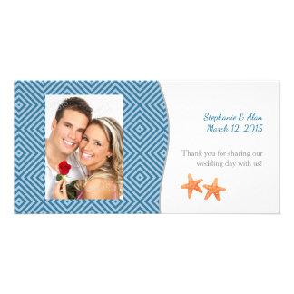 Nautical Starfish Photo Wedding Thank You Card