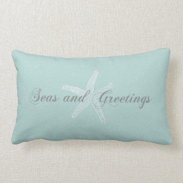 Christmas Themed Nautical Starfish Seasons Greetings Lumbar Pillow