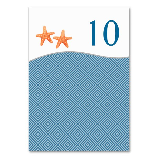 Nautical Starfish Table Number Cards