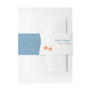 Beach Themed Nautical Starfish Wedding Belly Bands Invitation Belly Band