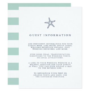 Nautical Starfish Wedding Guest Details Card