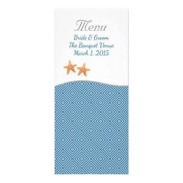 Nautical Starfish Wedding Menu Rack Card
